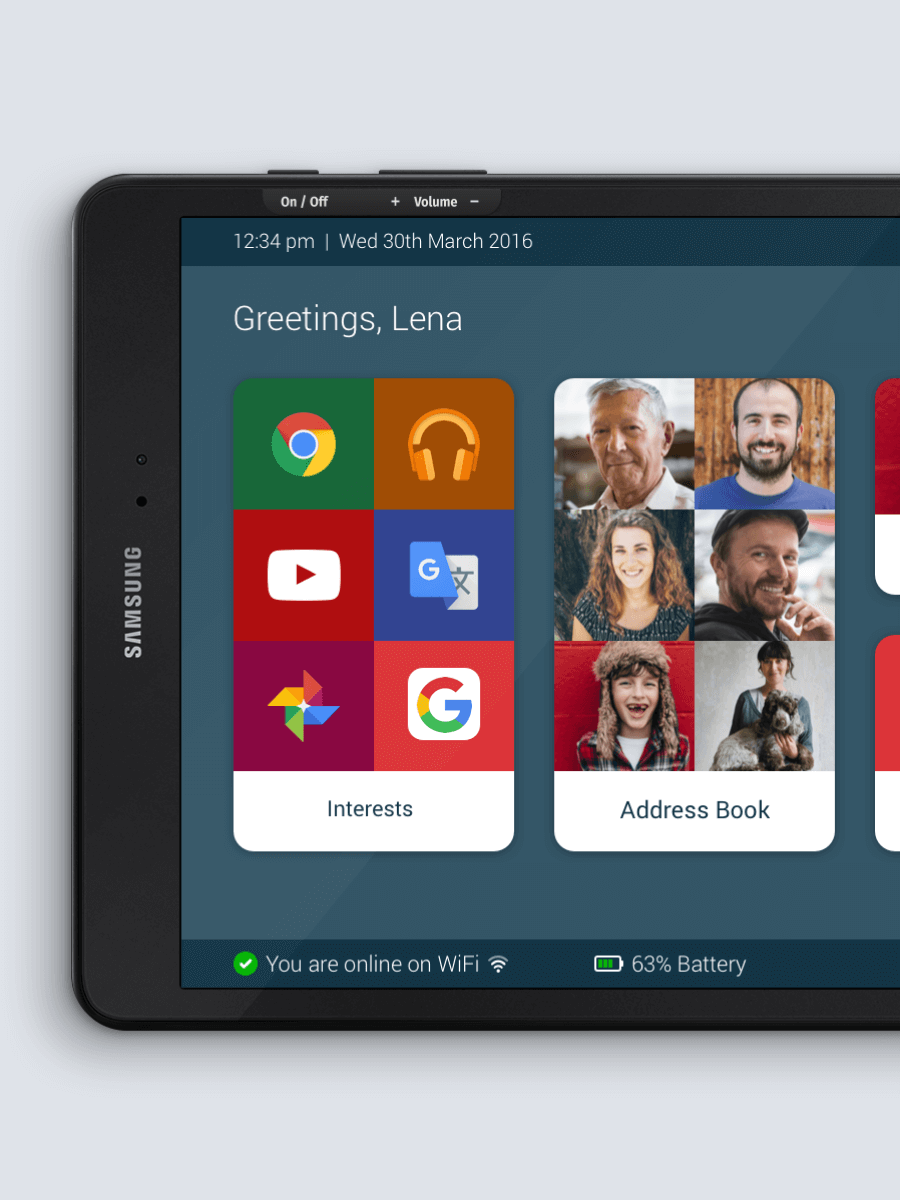 Android platform user interface with Breezie's easy to use homescreen.