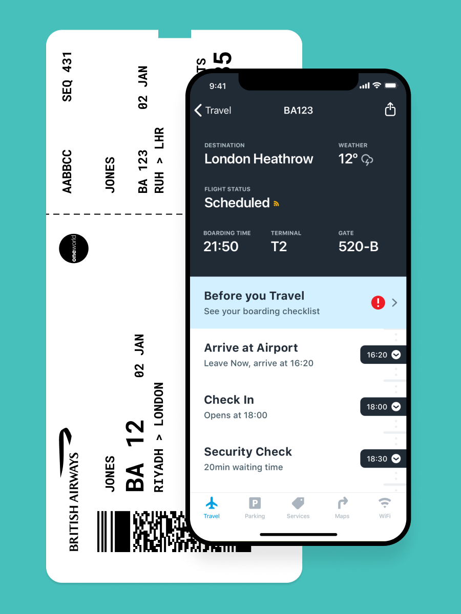 iOS app user interface for Riyadh Airports with iconography and a British Airways ticket.