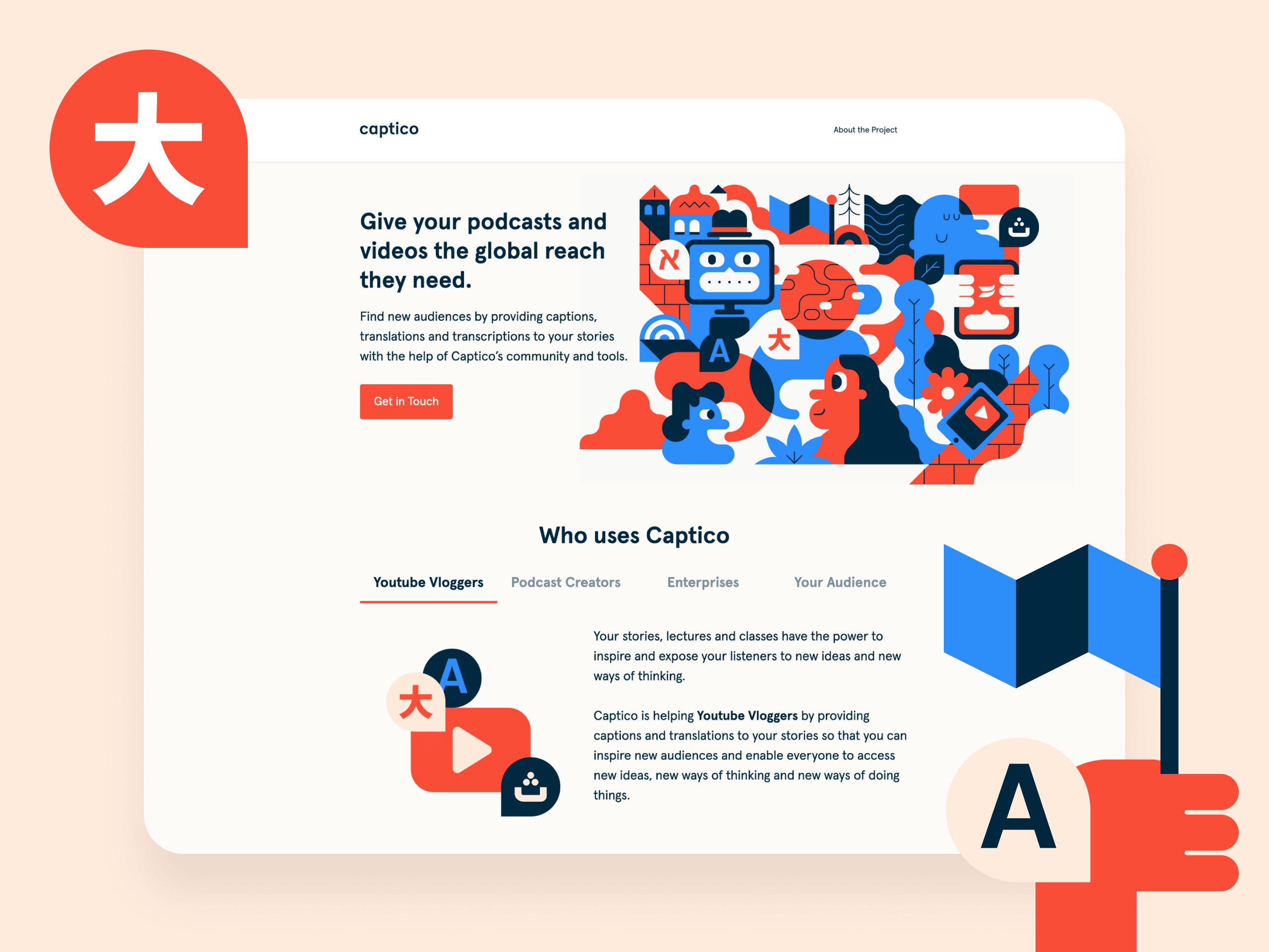 Landing page user interface for Captico's website.