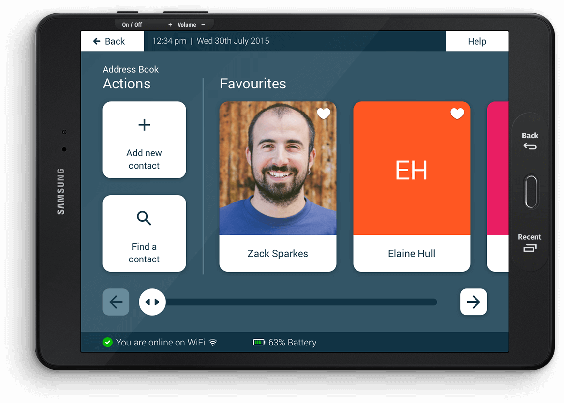 Intuitive user interface (UI) showing a collection of contacts with big images and accessible buttons.