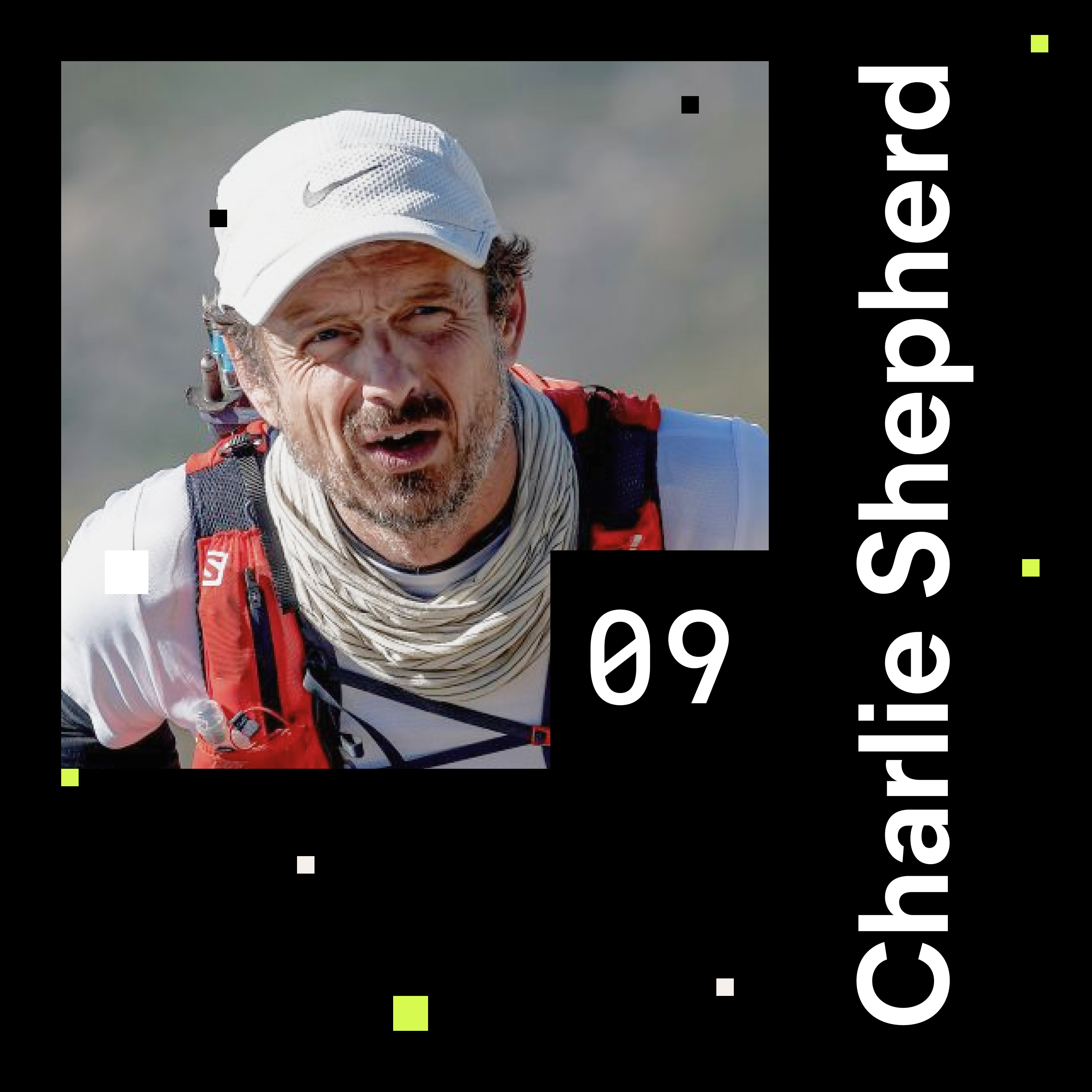 Chalie Shepherd portrait while ultra running. Cover of episode 9 of the shaping chaos podcast.