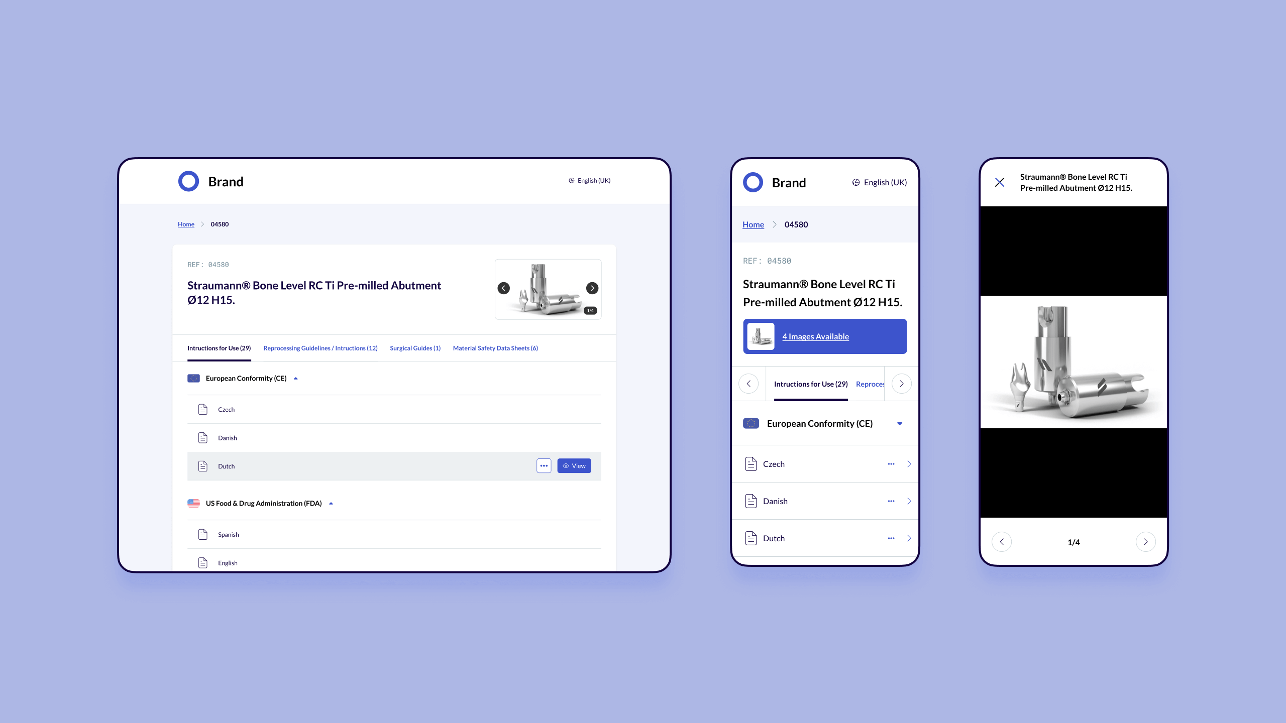 Dokspot's white label interface (UI) solution for product details as shown on desktop and mobile.