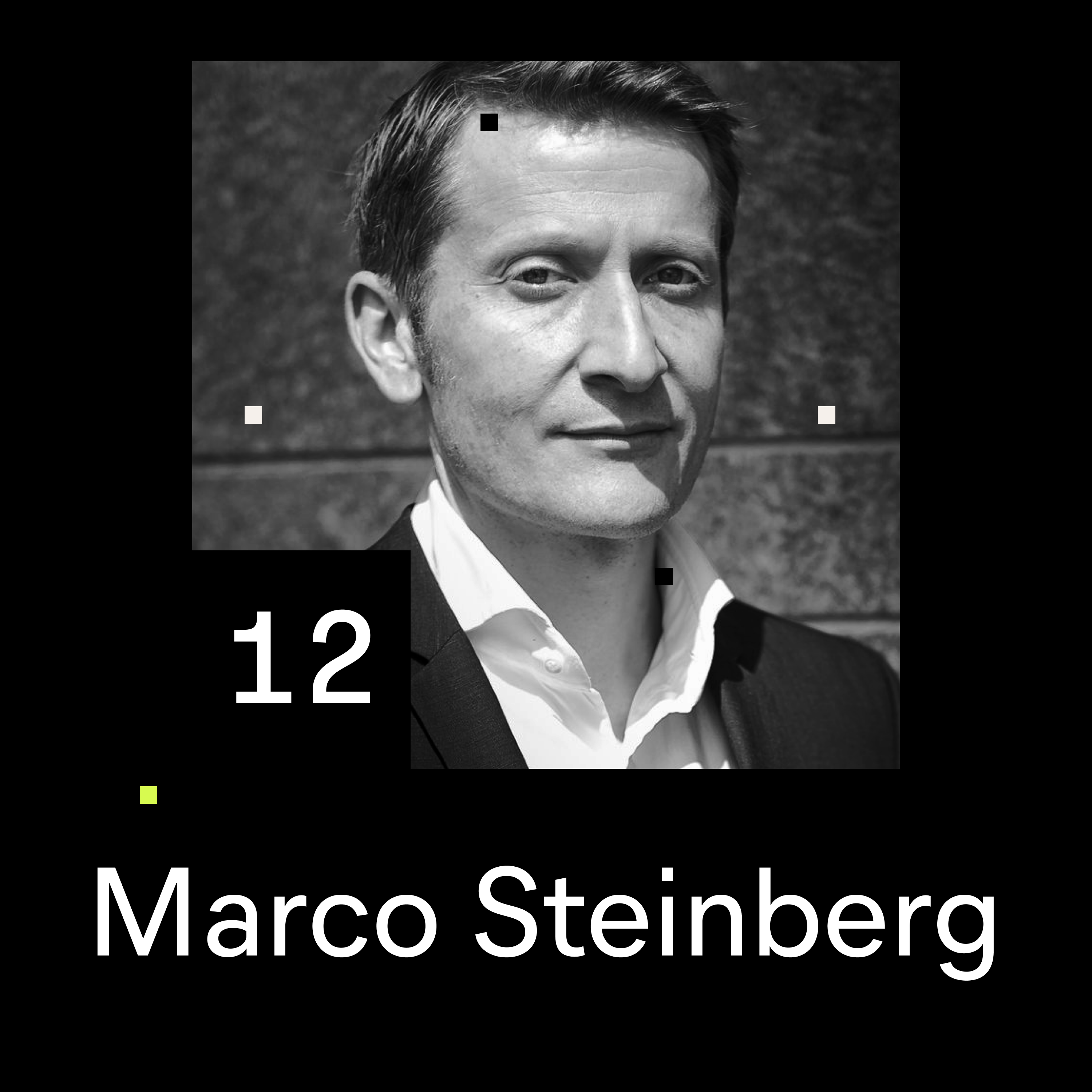 Black and white portrait of Marco Steinberg for the 12th episode of the Shaping Chaos podcast