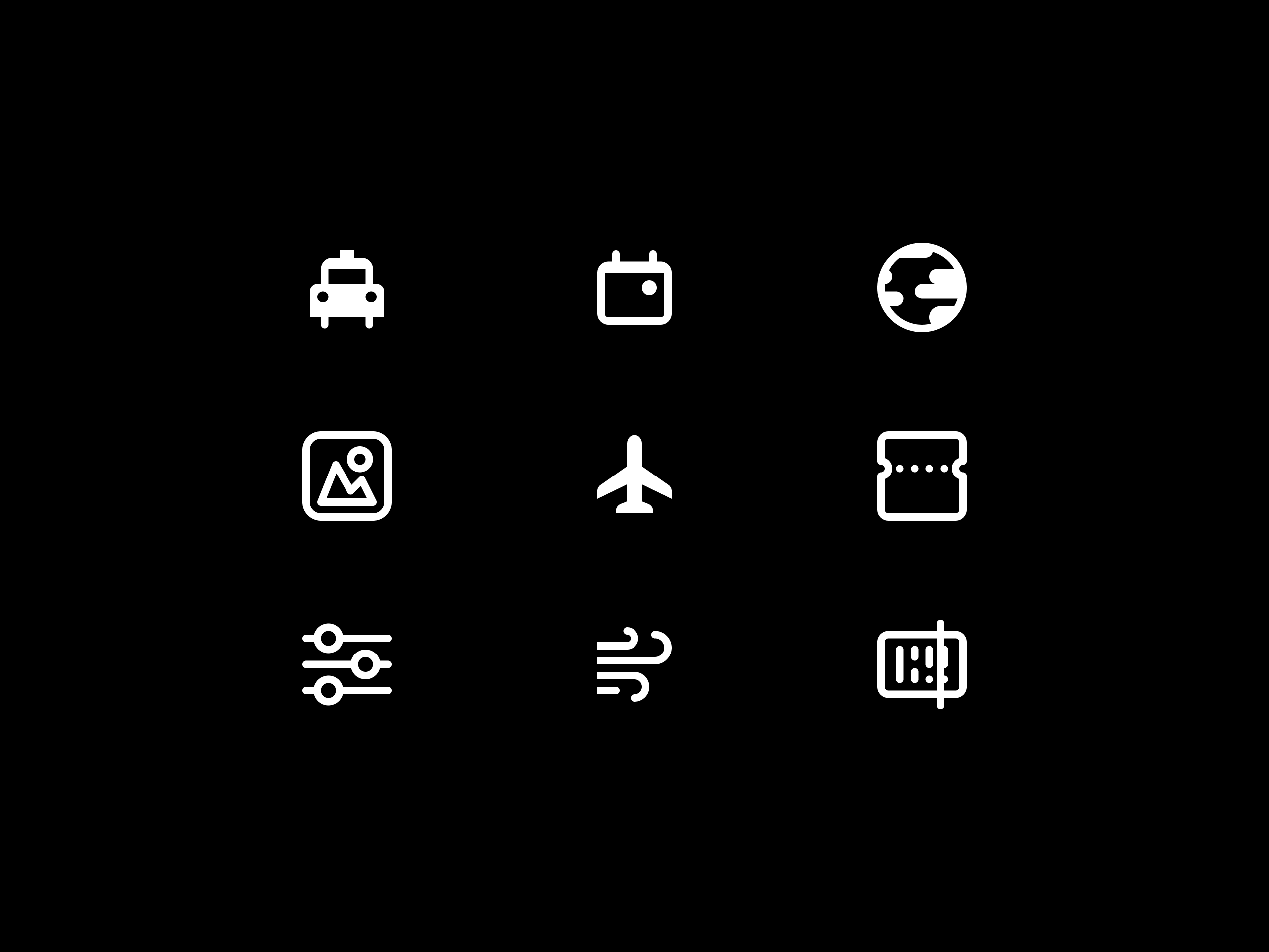 Riyadh Airports app collection of icons.