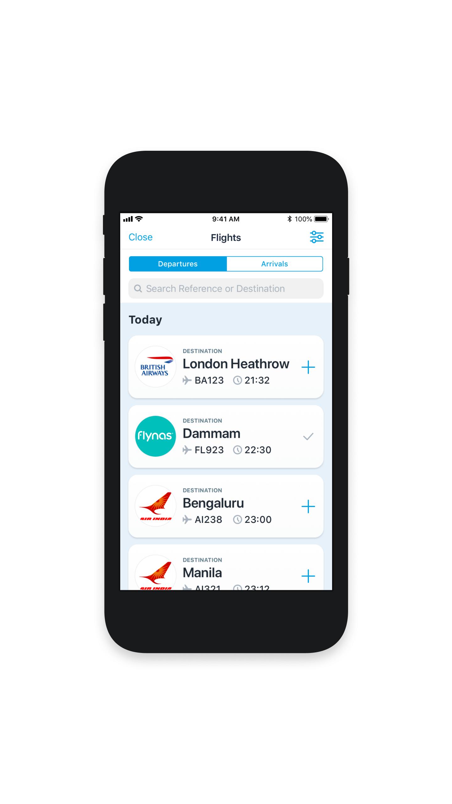 iOS app user interface (UI) for departure flights - Arabic version