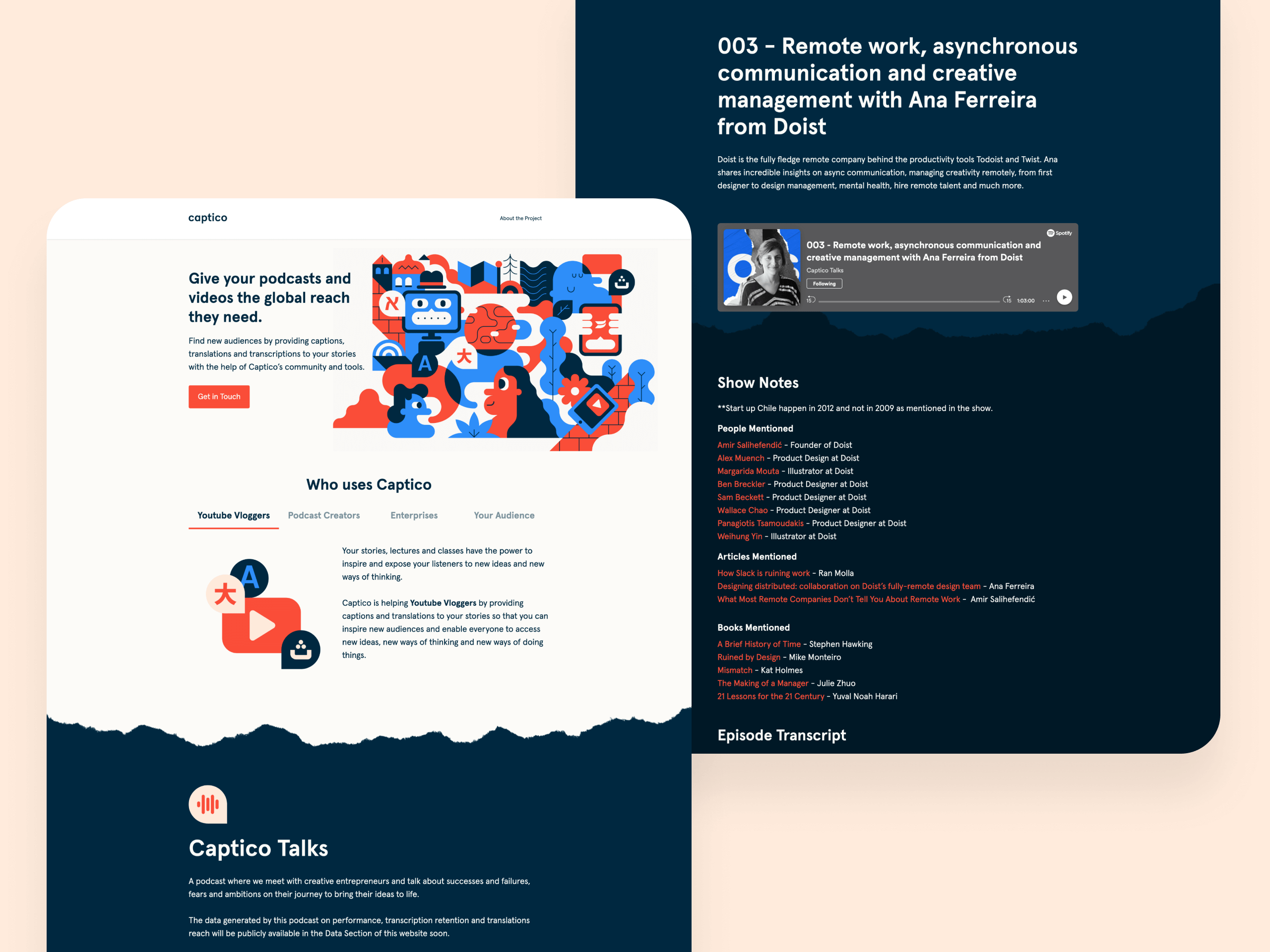 User interface (UI) and illustrations for Captico landing page and podcast pages.