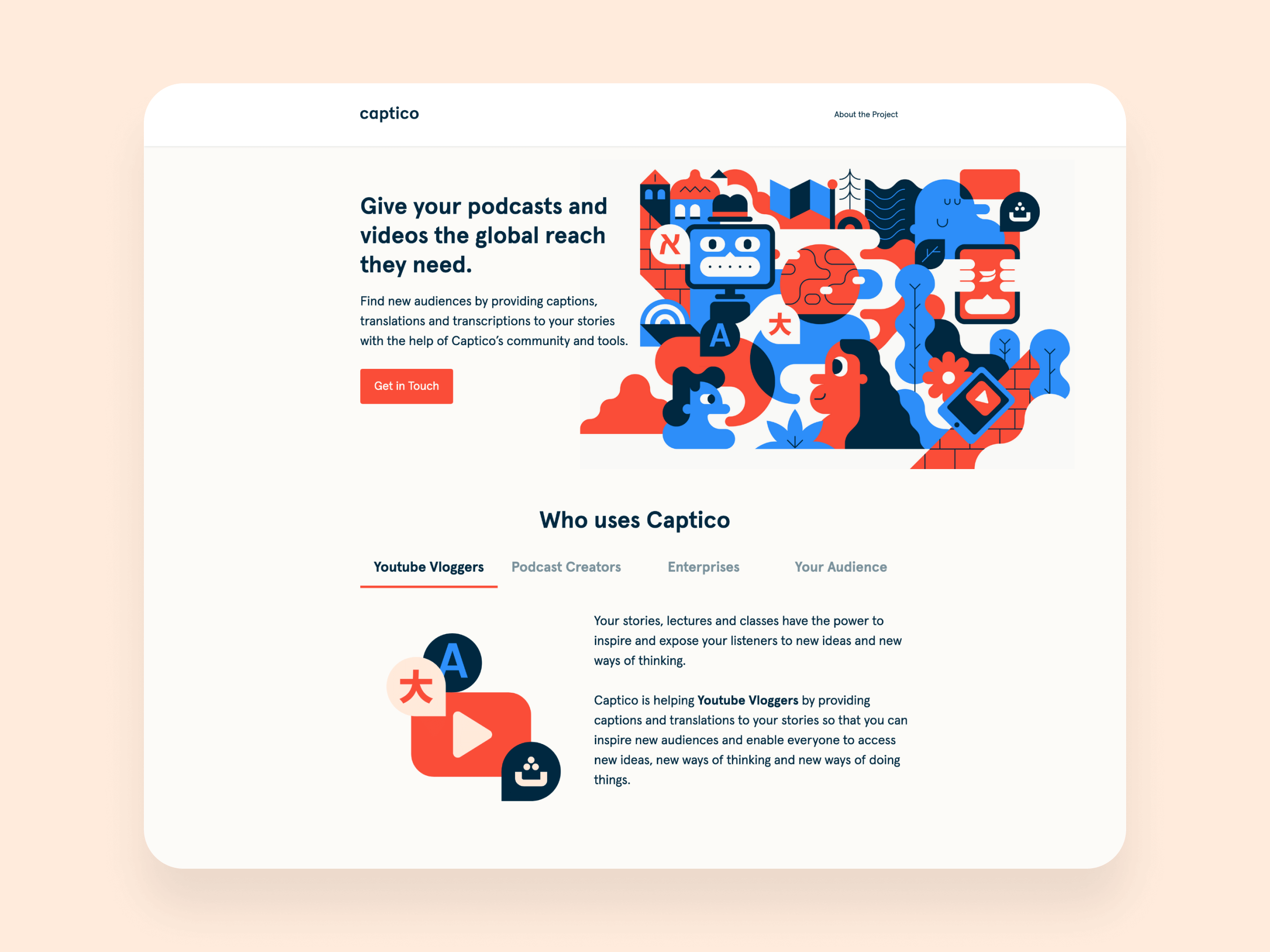 User interface (UI) for Captico's landing page.